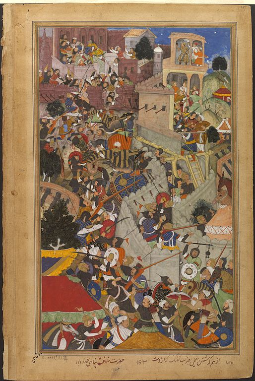 514px Akbar shoots Jaimal at the siege of Chitor