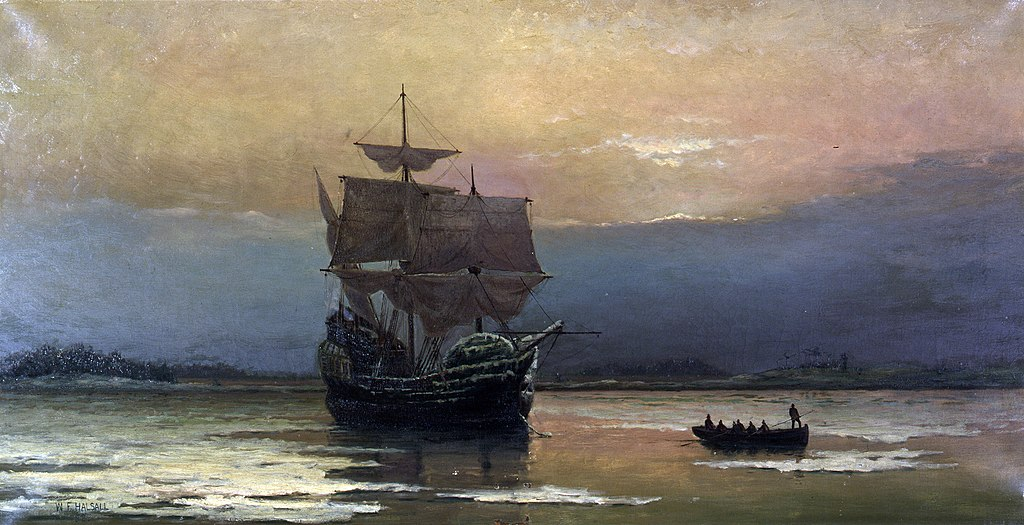 1024px Mayflower in Plymouth Harbor by William Halsall