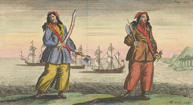 General History of the Pyrates Ann Bonny and Mary Read coloured