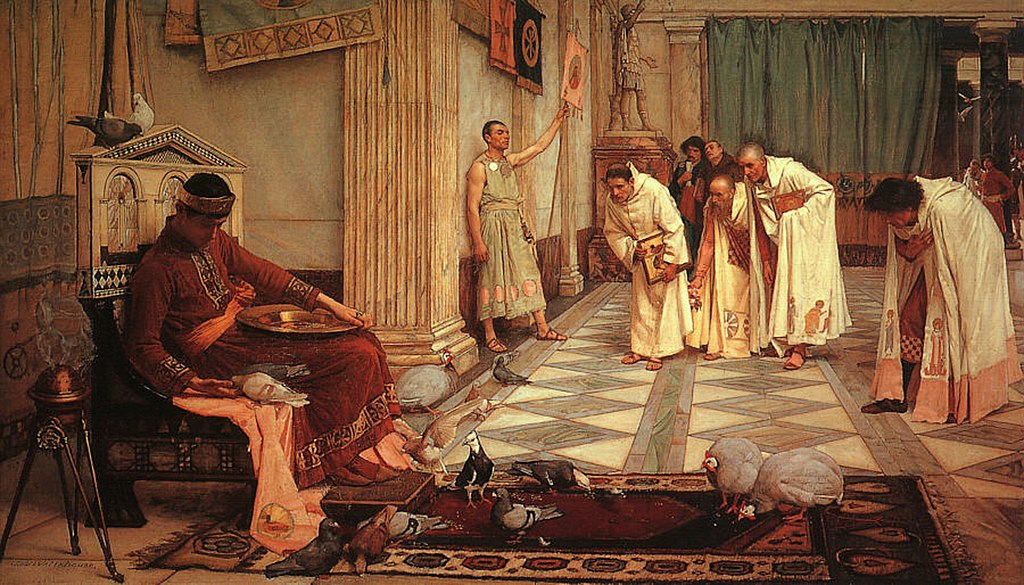 1024px John William Waterhouse The Favorites of the Emperor Honorius 1883