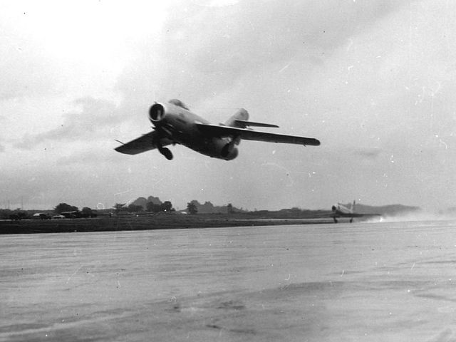 640px MiG 15 and F 86 Sabre taking off at Okinawa 1953